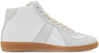 Maison Martin Margiela White And Gray Leather High Top Replica Sneakers