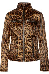 Dolce And Gabbana Leather Trimmed Leopard Print Satin Shell Jacket Animal Print