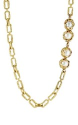 Mahnaz Collection Vintage Women's Pearl Accented Long Necklace Gold
