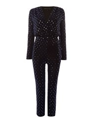 Endless Rose Longsleeve V Neck Glitter Jumpsuit Navy