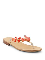 Ivanka Trump Parnea Jeweled Accented Sandals Gold Coral