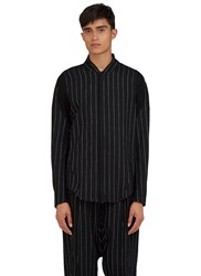 Abasi Rosborough Arc Apres Zip Up Broken Stripe Shirt Black