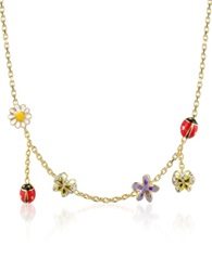 A Z Collection Garden Line Enamel Gold Plated Charm Necklace