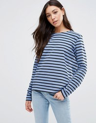 Ganni Old Spice Striped Long Sleeve Top Moonlight Blue Black