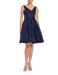 Maggy London Pleated Fit And Flare Dress Galaxy Blue