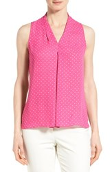 Women's Vince Camuto Polka Dot Pleat Front V Neck Blouse Pop Pink