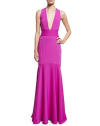 Milly Sleeveless Crisscross Back Mermaid Gown Women's Size 4 Pink