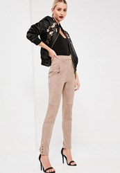 Missguided Nude Faux Suede Pocket Detail Leggings Stone
