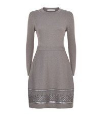 D.Exterior Metallic Lace Trim Dress Female Dark Grey