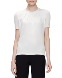 Carolina Herrera Short Sleeve Pleated Front Top Off White
