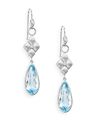 Jude Frances Topaz Diamond And 18K White Gold Drop Earrings Blue