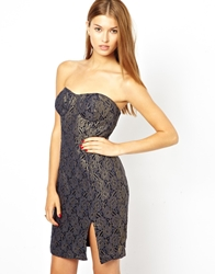 Aryn K Strapless Jacquard Party Dress Gold