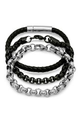 Steeltime Silver Black Chain And Leather Braided Cord Bracelet Set