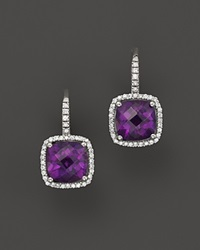 Bloomingdale's Amethyst And Diamond Cushion Cut Drop Earrings In 14K White Gold Purple White