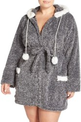 Pj Salvage Hooded Plush Robe With Faux Fur Trim Plus Size Gray