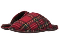 Bedroom Athletics Ewan Red Green Tartan Men's Slippers Black