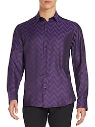 Versace Regular Fit Chevron Sportshirt Violet Black