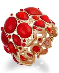 Style And Co. Gold Tone Red Bold Stone Stretch Bracelet