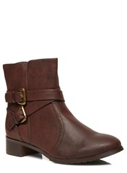 Evans Extra Wide Fit Biker Ankle Boot Brown