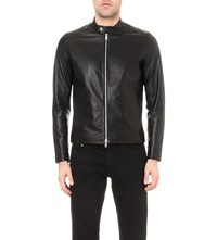 Reiss Brooklyn Leather Jacket Black