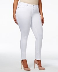 Celebrity Pink Trendy Plus Size Colored Wash Skinny Jeans White