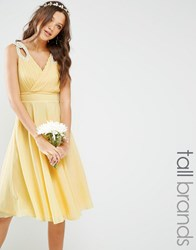 Tfnc Tall Prom Midi Dress With Embellished Shoulders Soft Yellow