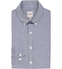 Hardy Amies Regular Fit Checked Cotton Shirt Navy