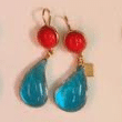 Loulou De La Falaise Red Turquoise Earrings With Glass Paste And 24 Carats Gold Plating Multi
