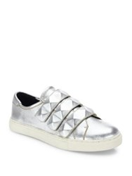 Rebecca Minkoff Becky Leather Sneakers Silver