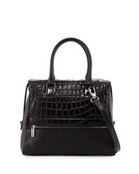 Charles Jourdan Maud Crocodile Embossed Leather Tote Bag Black