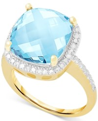 Victoria Townsend Blue Topaz 6 Ct. T.W. And Diamond 1 10 Ct. T.W. Ring In Sterling Silver