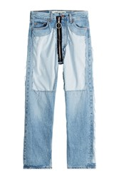 Off White Distressed High Waist Jeans With Zipper Blue