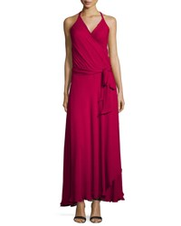 Haute Hippie Sleeveless Halter Neck Wrap Gown Garnet