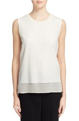 Vince Women's Sleeveless Mesh Overlay Blouse Off White