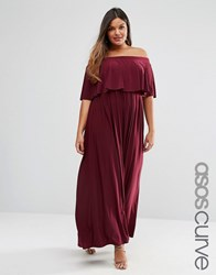Asos Curve Wedding Off Shoulder Ruffle Dress Oxblood Red