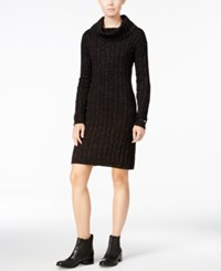 Tommy Hilfiger Georgina Cowl Neck Sweater Dress Only At Macy's Deep Knit Black