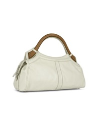 Buti Faux Wooden Handle Leather Satchel Bag Ivory
