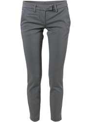 Dondup Cropped Slim Fit Trousers Grey