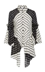 Christian Siriano Diamond Stripe Shirt Black White