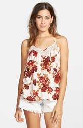 Volcom 'Defiant One' Floral Print Tank Blood Red