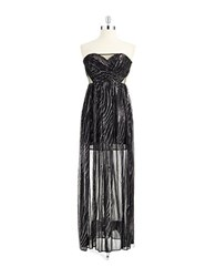Hailey Logan Strapless Sequin Adorned Gown Black