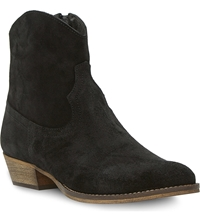 Bertie Province Western Ankle Boots Black Suede