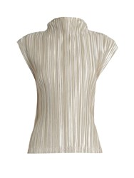 Issey Miyake High Neck Pleated Top Silver