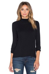Enza Costa Cashmere Flare Long Sleeve Turtleneck Sweater Black