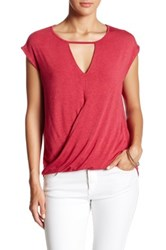 H By Bordeaux Wrap Front Keyhole Tee Red