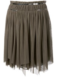 Jay Ahr Silver Tone Detail Pleated Skirt Green