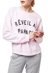 Women's Topshop 'Paradise' Crewneck Sweatshirt Light Pink