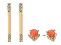 Guess Stud And Stick Linear Duo Earrings Set Gold Crystal Coral Earring