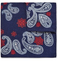Alex Mill Printed Wool Twill Pocket Square Navy