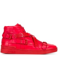 Moschino Logo Plaque Hi Top Sneakers Red
